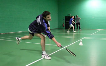 this is badminton, but not at the hall